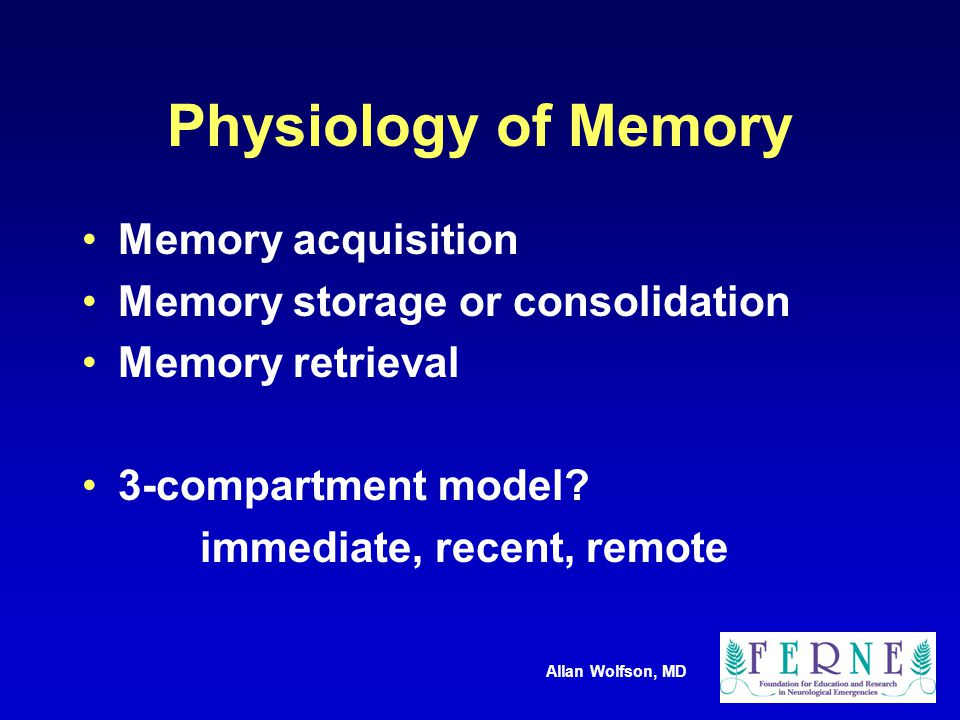 Allan Wolfson, MD Physiology of Memory Memory acquisition Memory storage or consolidation Memory retrieval 3-compartment model.