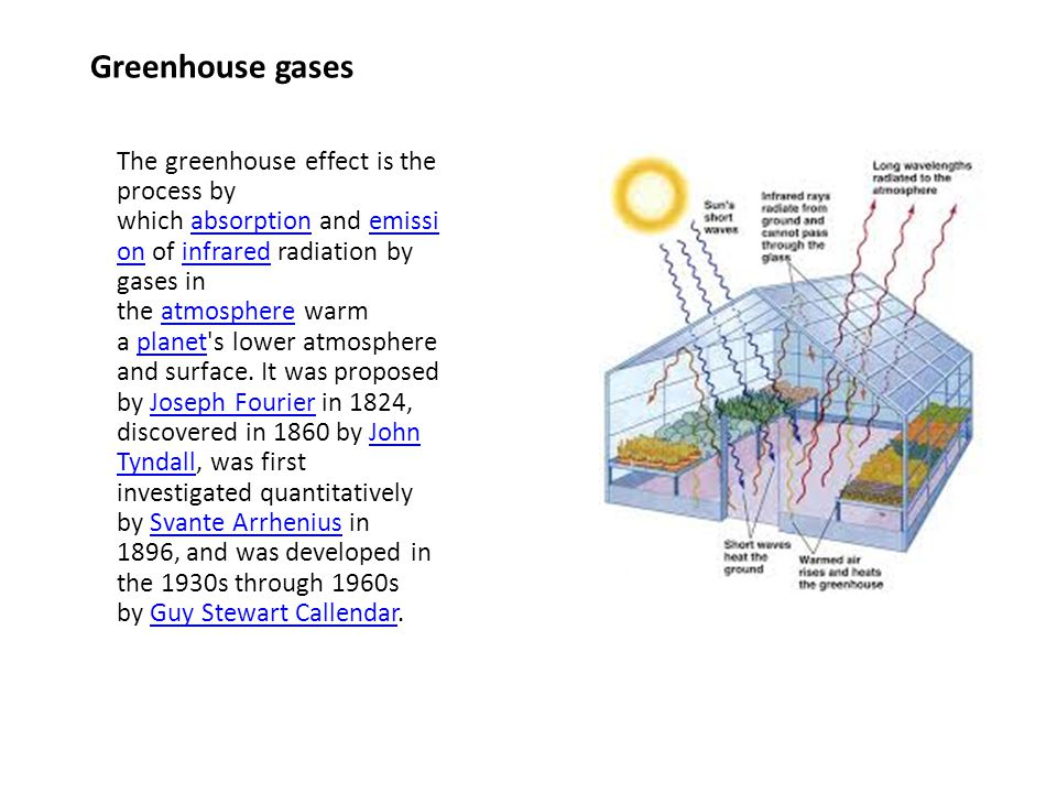 Greenhouse gases The greenhouse effect is the process by which absorption and emissi on of infrared radiation by gases in the atmosphere warm a planet s lower atmosphere and surface.