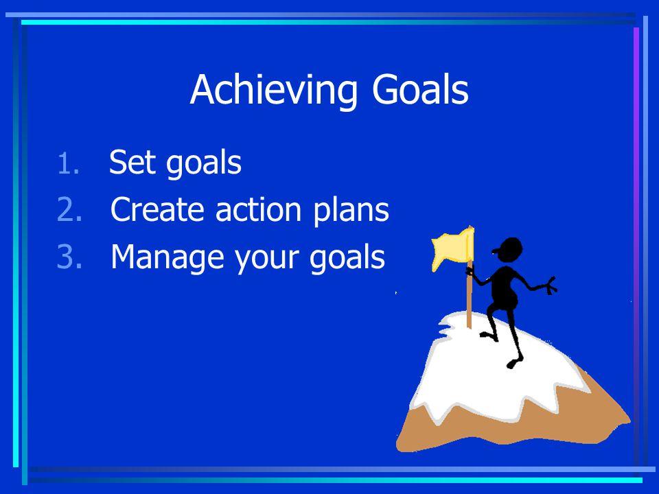 Achieving Goals 1. Set goals