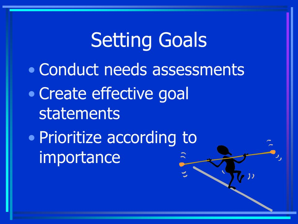 Conduct Needs Assessments Gather information about the needs Prioritize according to importance Select the most important needs to address in goals