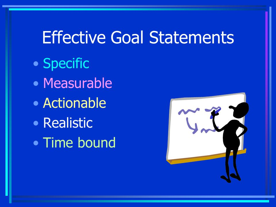 Example Goal Statement Organize a club for women by January 15, 2010