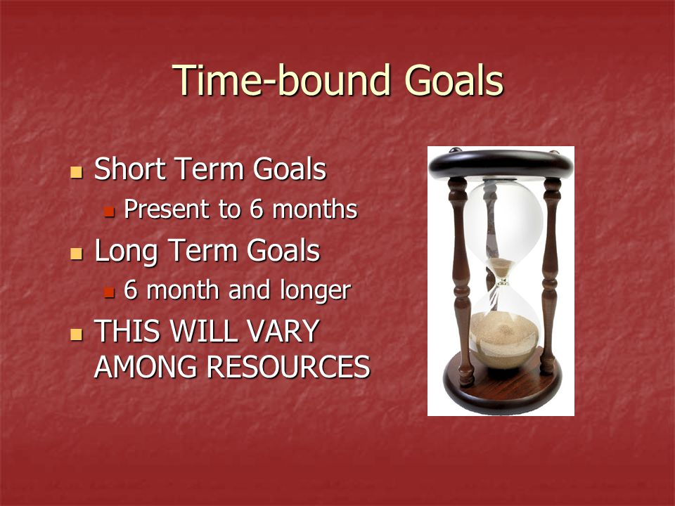 Time-bound Goals Short Term Goals Short Term Goals Present to 6 months Present to 6 months Long Term Goals Long Term Goals 6 month and longer 6 month and longer THIS WILL VARY AMONG RESOURCES THIS WILL VARY AMONG RESOURCES