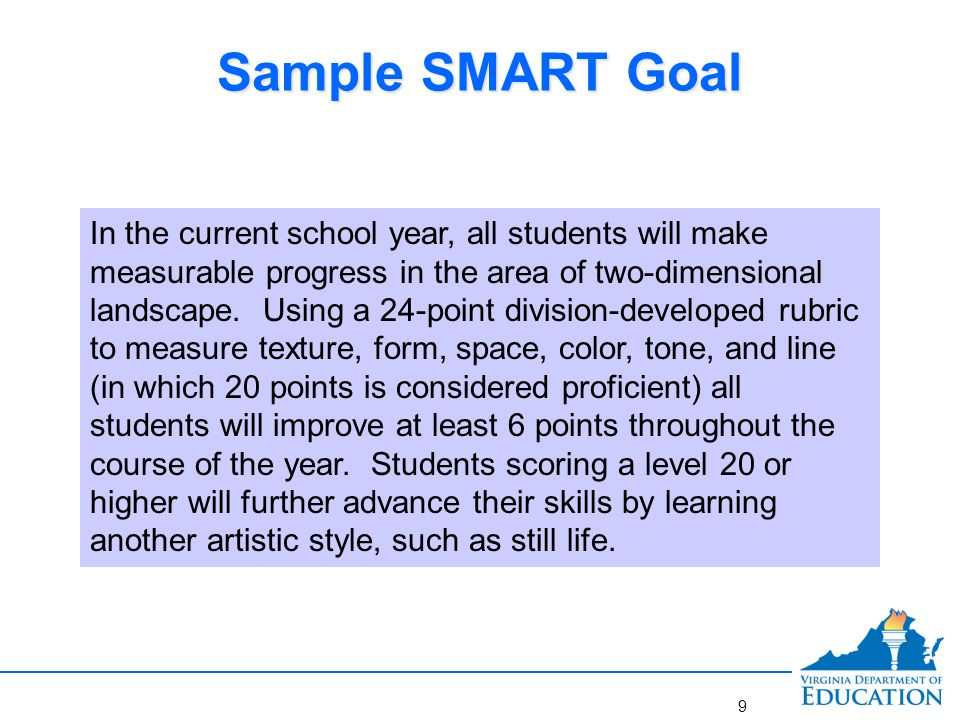 Sample SMART Goal S pecific: Focused on two-dimensional landscape M easurable: Rubric used to assess performance A ppropriate: The teacher teaches the content and skills contained in middle school art R ealistic: The goal of increasing student performance by at least six points is realistic T ime-bound: Goal attainment can be addressed by the end of the year with a performance task scored by a division-developed rubric S pecific: Focused on two-dimensional landscape M easurable: Rubric used to assess performance A ppropriate: The teacher teaches the content and skills contained in middle school art R ealistic: The goal of increasing student performance by at least six points is realistic T ime-bound: Goal attainment can be addressed by the end of the year with a performance task scored by a division-developed rubric 10