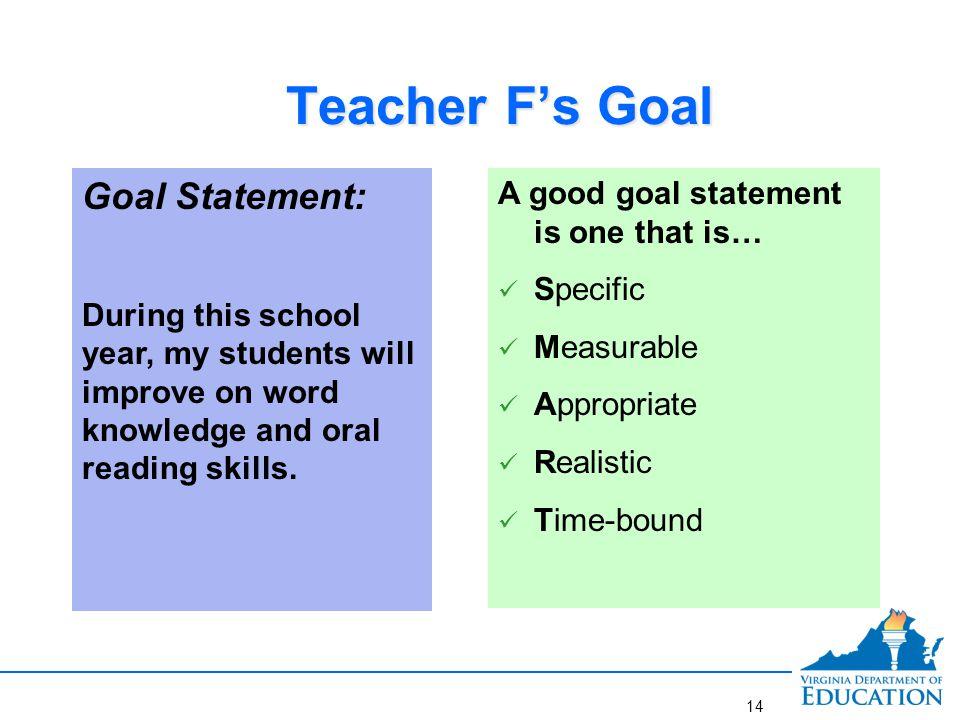 Better Goal for Teacher F.