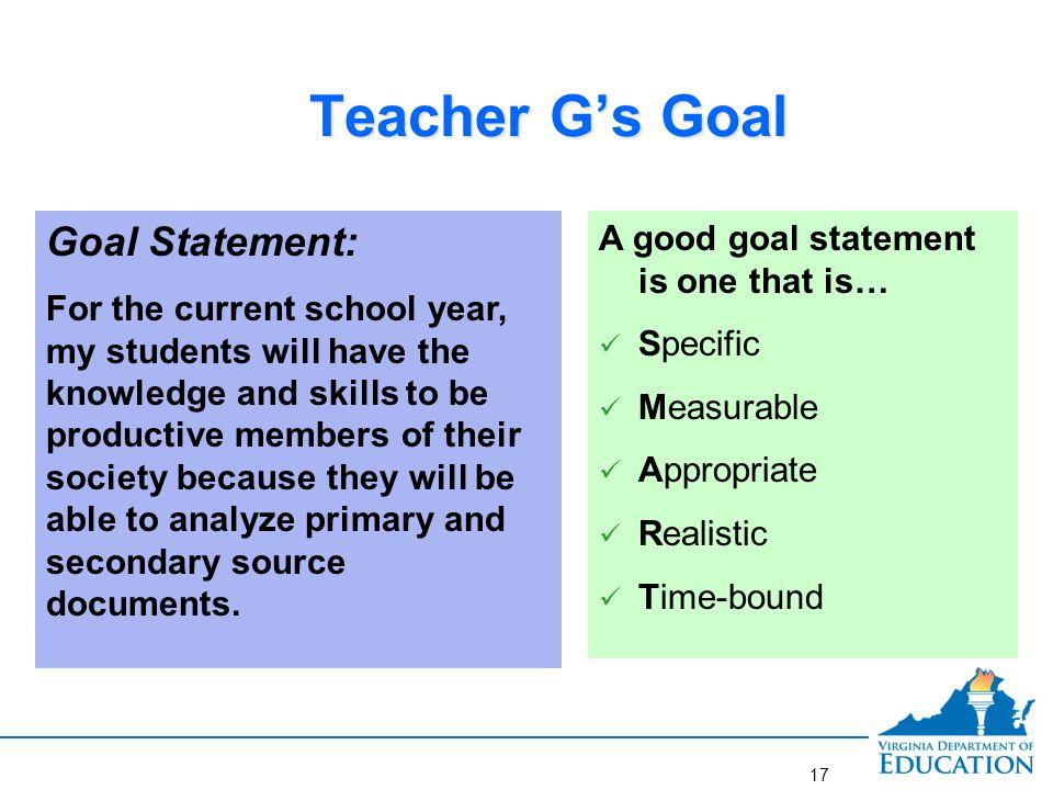 Better goal for Teacher G.
