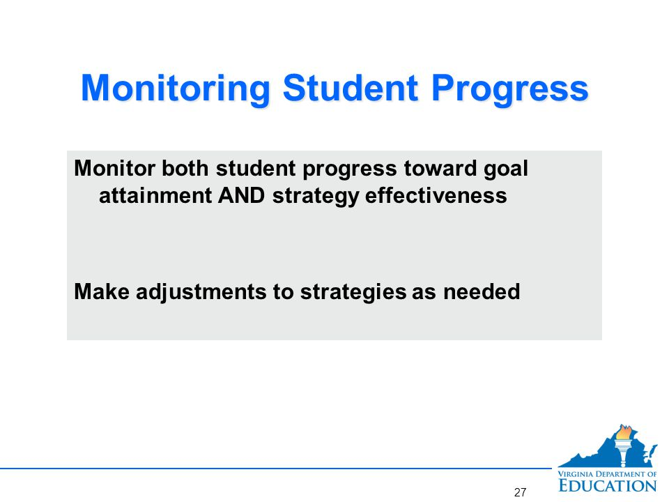 Steps in the Midyear Review Process Step 1 Collect and reflect on informal and formal mid- year data Step 2 Reflect on progress toward goal Step 3 Reflect on effectiveness of strategies Step 4 Adjust strategies 28