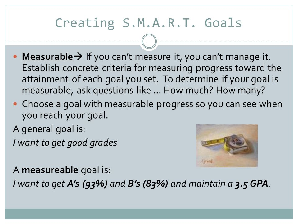 Creating S.M.A.R.T.
