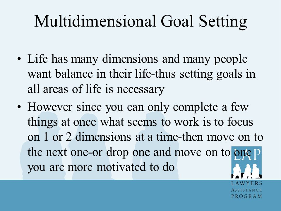 Multidimensional Goal Setting Life has many dimensions and many people want balance in their life-thus setting goals in all areas of life is necessary However since you can only complete a few things at once what seems to work is to focus on 1 or 2 dimensions at a time-then move on to the next one-or drop one and move on to one you are more motivated to do