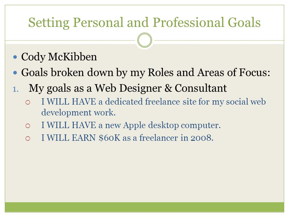 Setting Personal and Professional Goals Cody McKibben Goals broken down by my Roles and Areas of Focus: 1. My goals as a Web Designer & Consultant  I