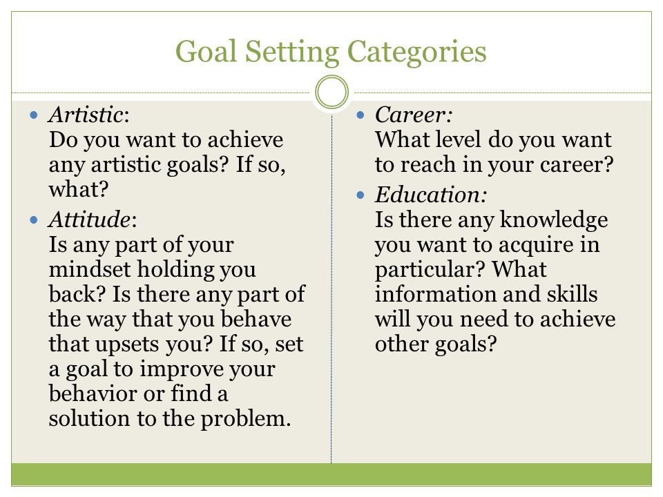 Goal Setting Categories Family: Do you want to be a parent.