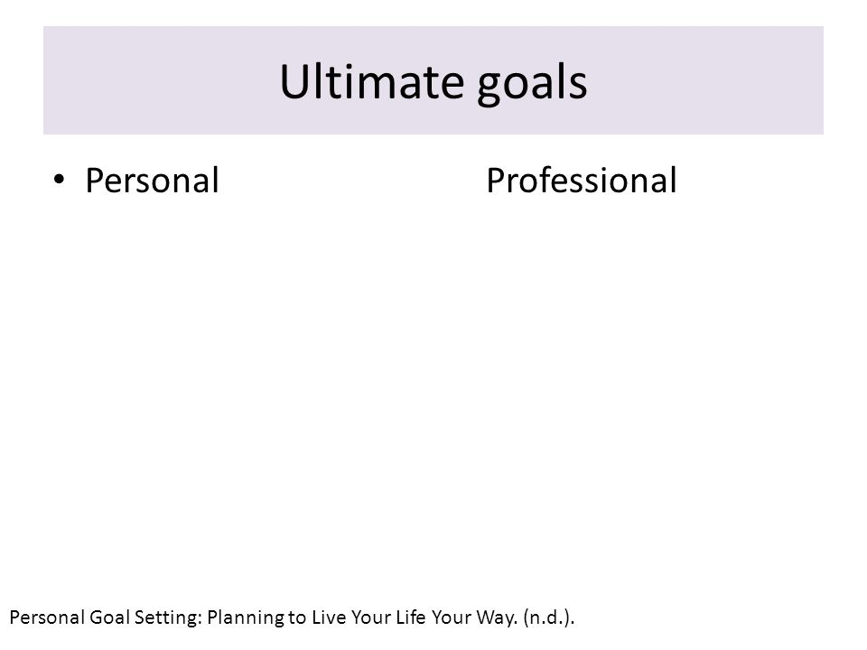 What goal. Some people do not have any goals determined.