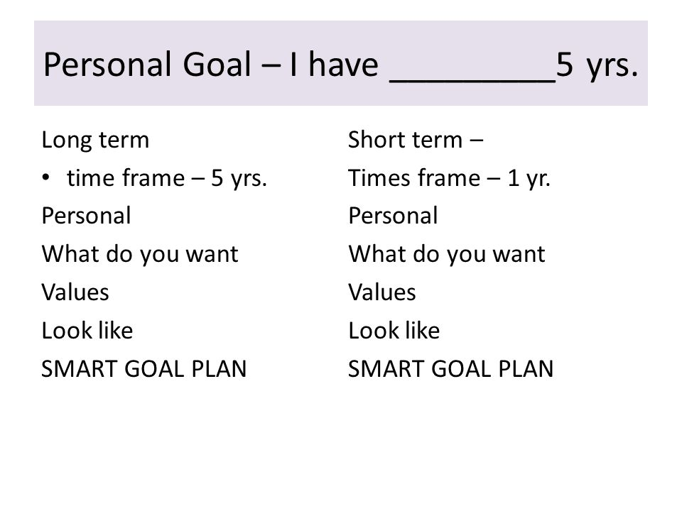 What are your goals in ten years Personal What do you want Values Look like Professional/career What do you want Values Look like