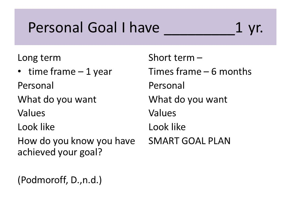 Long term time frame – 1 year Personal What do you want Values Look like How do you know you have achieved your goal.