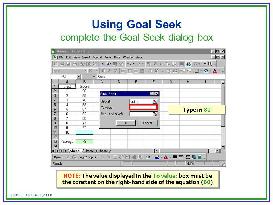 Denise Sakai Troxell (2000) Using Goal Seek complete the Goal Seek dialog box Type in 80 NOTE: The value displayed in the To value: box must be the co