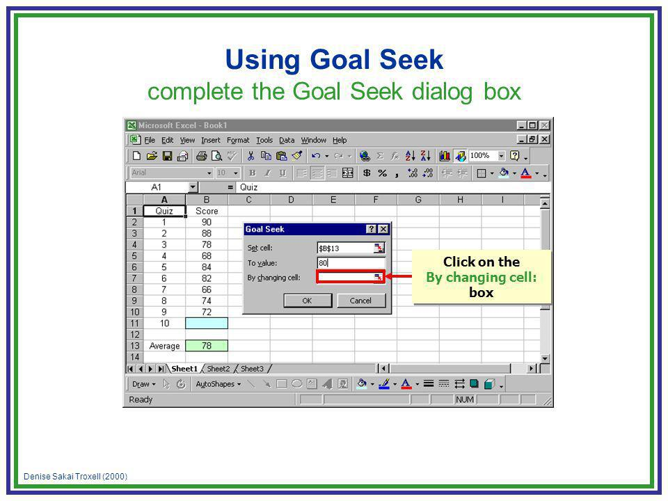 Denise Sakai Troxell (2000) Using Goal Seek complete the Goal Seek dialog box Click on the By changing cell: box