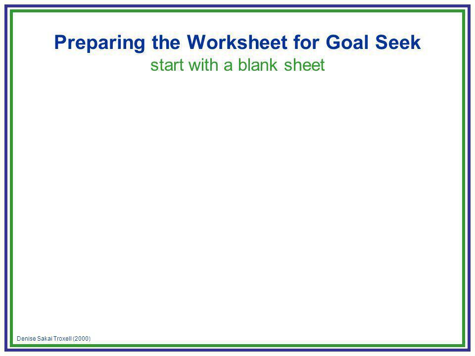 Denise Sakai Troxell (2000) Preparing the Worksheet for Goal Seek start with a blank sheet