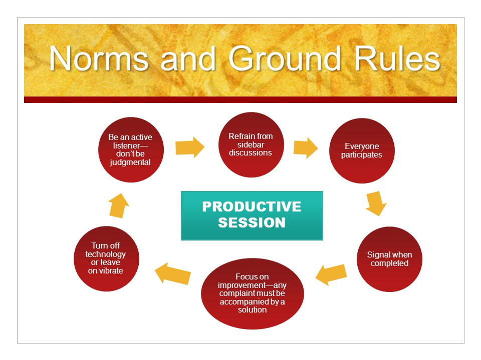 Norms and Ground Rules Refrain from sidebar discussions Everyone participates Signal when completed Focus on improvement—any complaint must be accompanied by a solution Turn off technology or leave on vibrate Be an active listener— don't be judgmental PRODUCTIVE SESSION