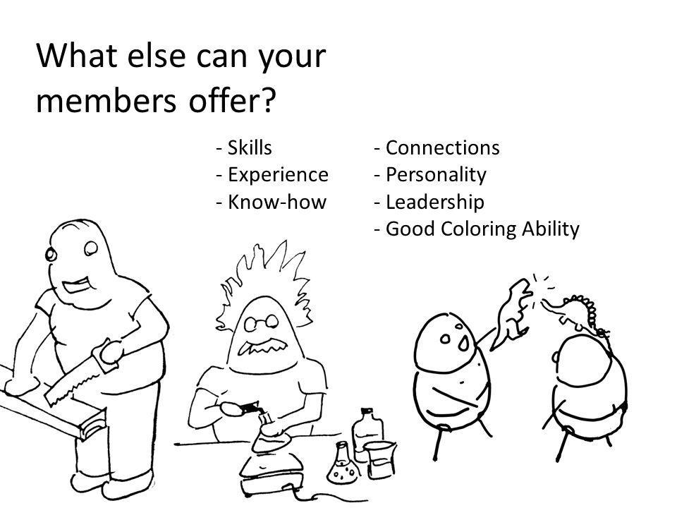 What else can your members offer? - Skills - Experience - Know-how - Connections - Personality - Leadership - Good Coloring Ability