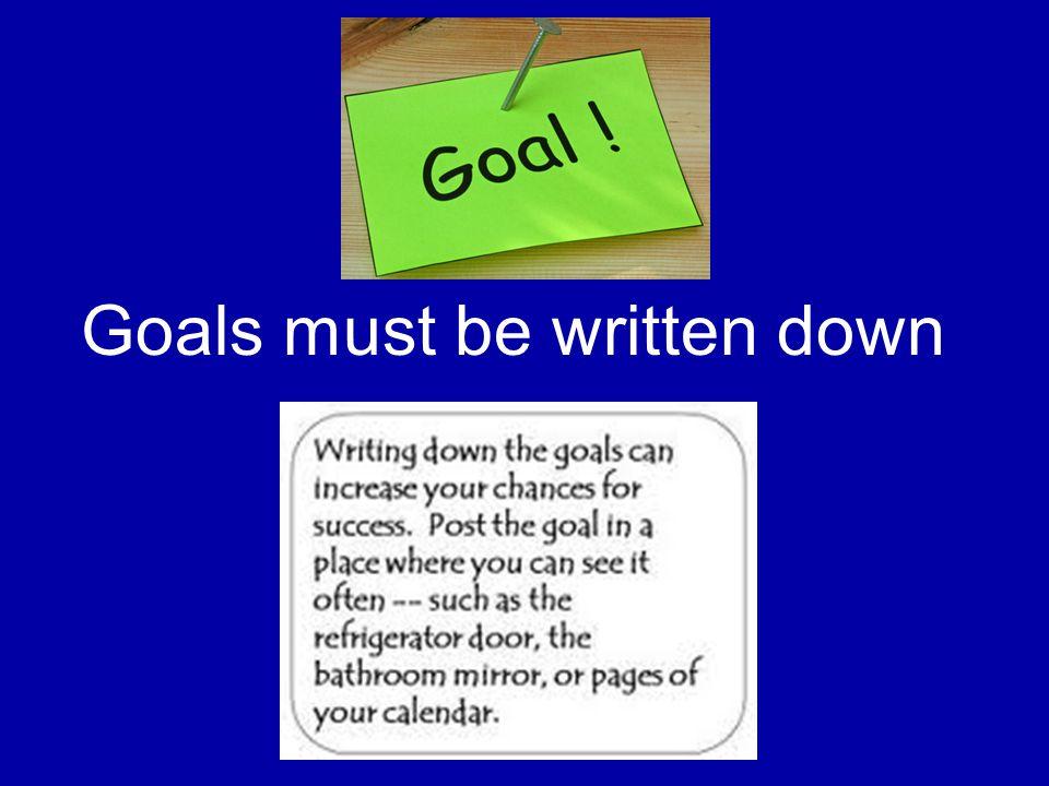 Goals must be written down