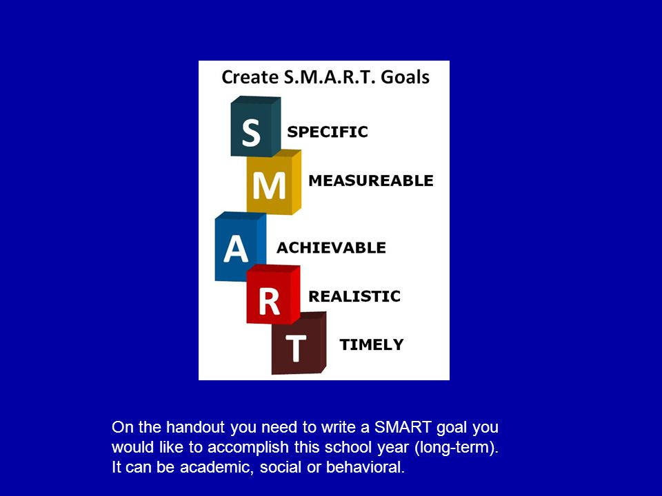 On the handout you need to write a SMART goal you would like to accomplish this school year (long-term).