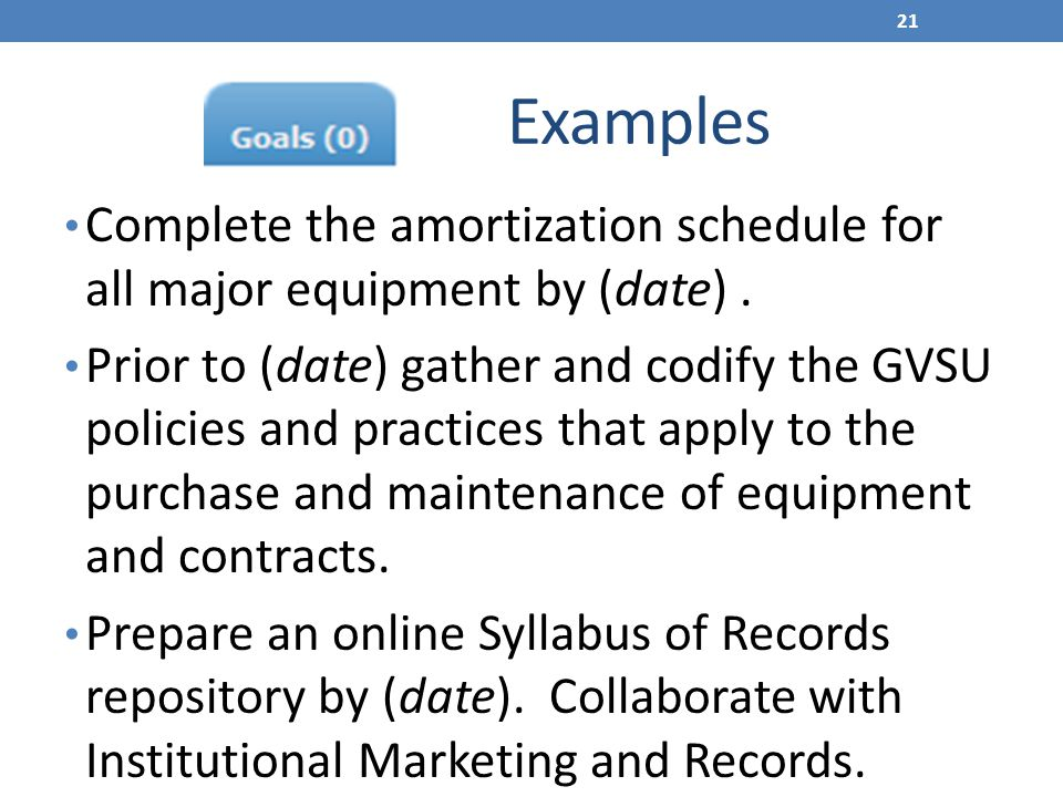 Examples Complete the amortization schedule for all major equipment by (date). Prior to (date) gather and codify the GVSU policies and practices that