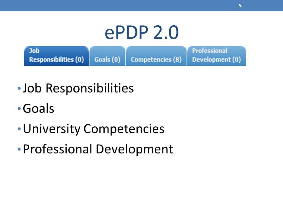 ePDP 2.0 Job Responsibilities Goals University Competencies Professional Development 5