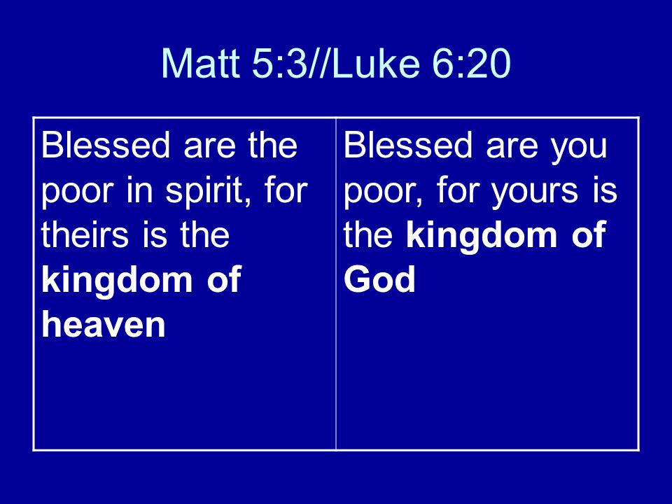 Matt 5:3//Luke 6:20 Blessed are the poor in spirit, for theirs is the kingdom of heaven Blessed are you poor, for yours is the kingdom of God