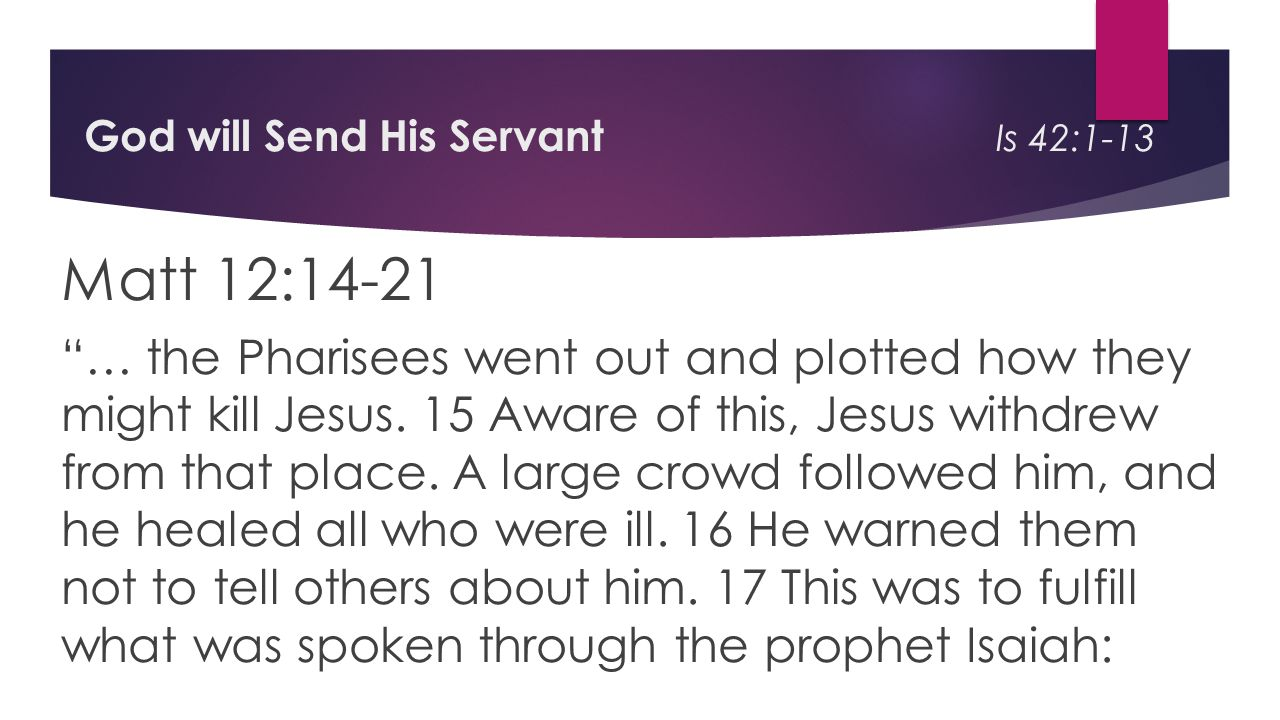 God will Send His Servant Is 42:1-13 Matt 12:14-21 … the Pharisees went out and plotted how they might kill Jesus.