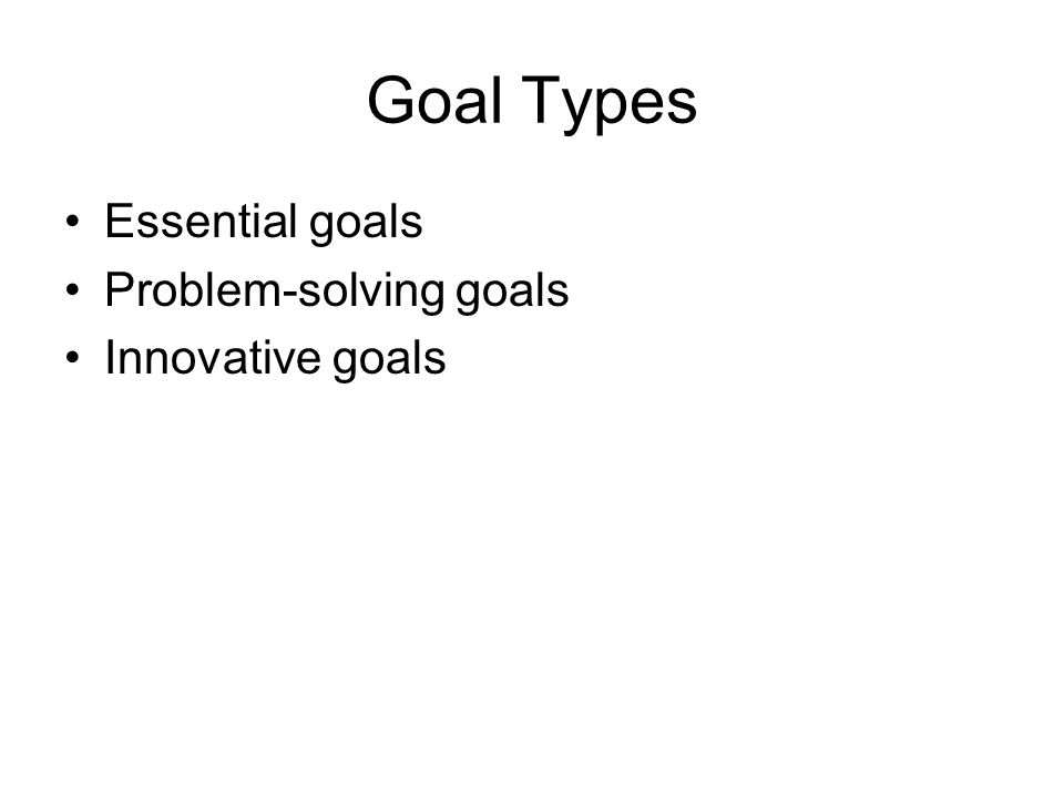 Goal Types Essential goals Problem-solving goals Innovative goals