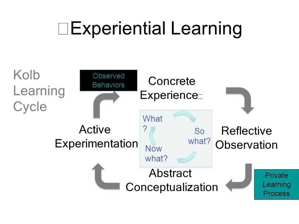 Experiential Learning Concrete Experience Reflective Observation Abstract Conceptualization Active Experimentation Kolb Learning Cycle Observed Behaviors What .