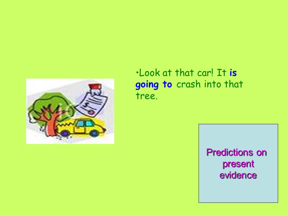 Look at that car! It is going to crash into that tree. OffersPromises Predictions on presentevidence