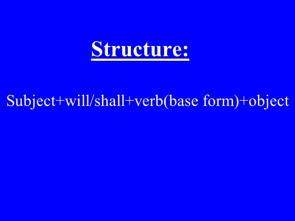 Structure: Subject+be going to+verb(base form)+object