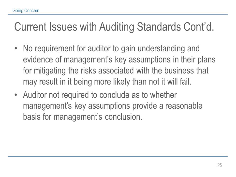 25 Going Concern Current Issues with Auditing Standards Cont'd.
