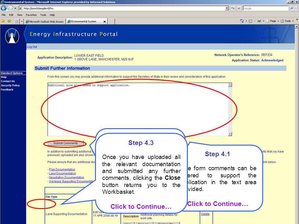 Step 4.1 Free form comments can be entered to support the application in the text area provided.