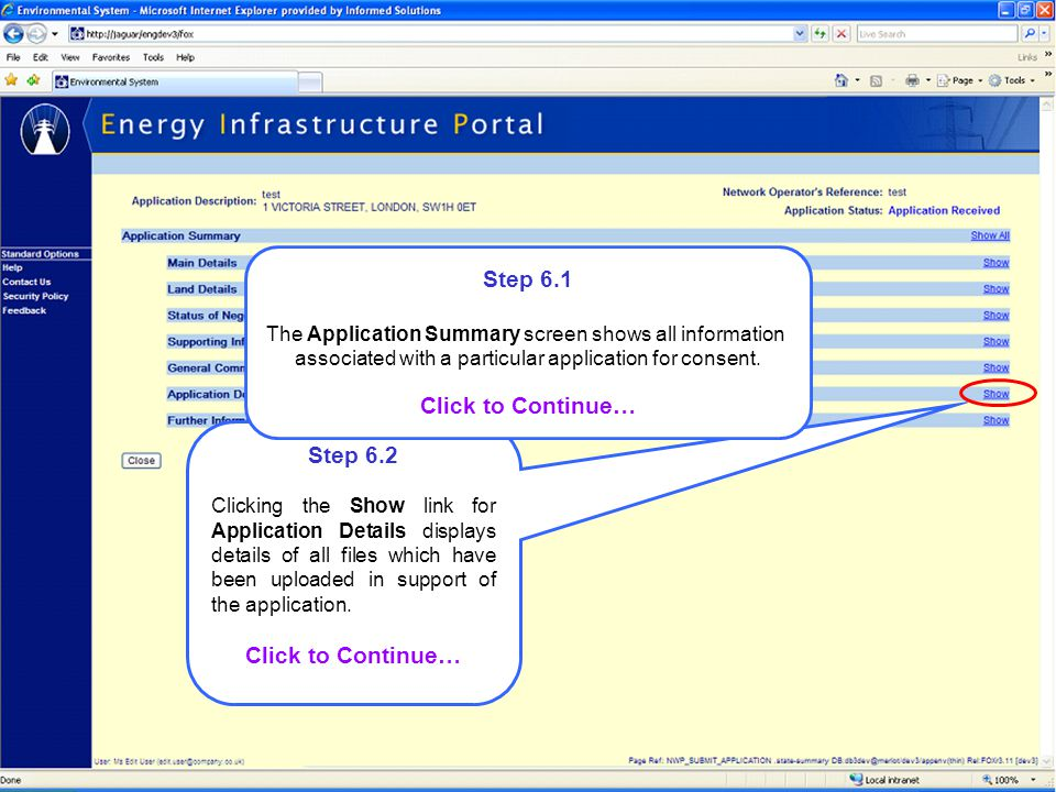 Step 6.2 Clicking the Show link for Application Details displays details of all files which have been uploaded in support of the application. Click to