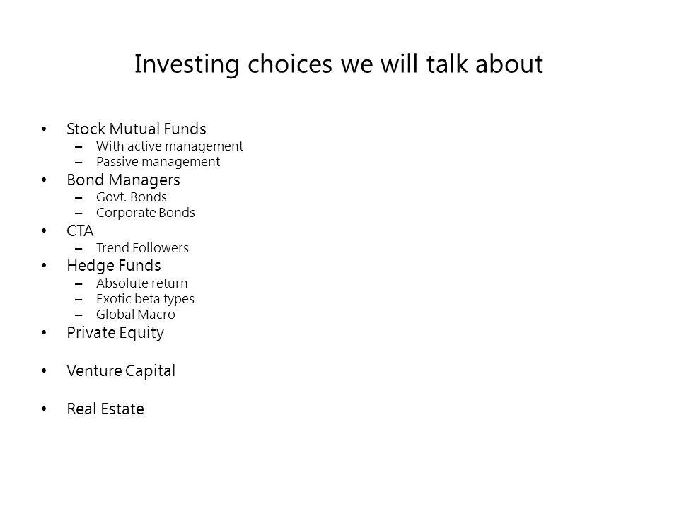 Summarizing Investors Characteristics – Capital – Risk Tolerance – Investing Horizon – Sophistication Market Beliefs