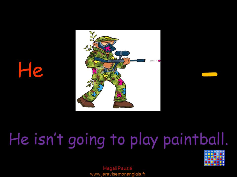 Magali Pauzié www.jerevisemonanglais.fr He He isn't going to play paintball. -