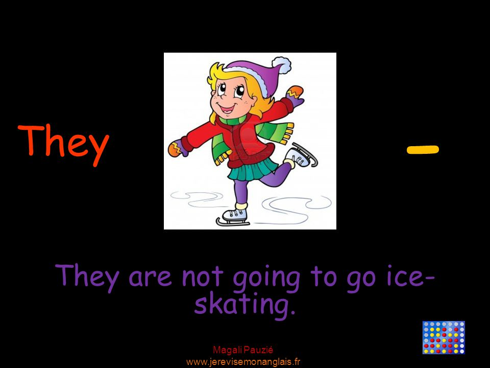 Magali Pauzié www.jerevisemonanglais.fr They They are not going to go ice- skating. -