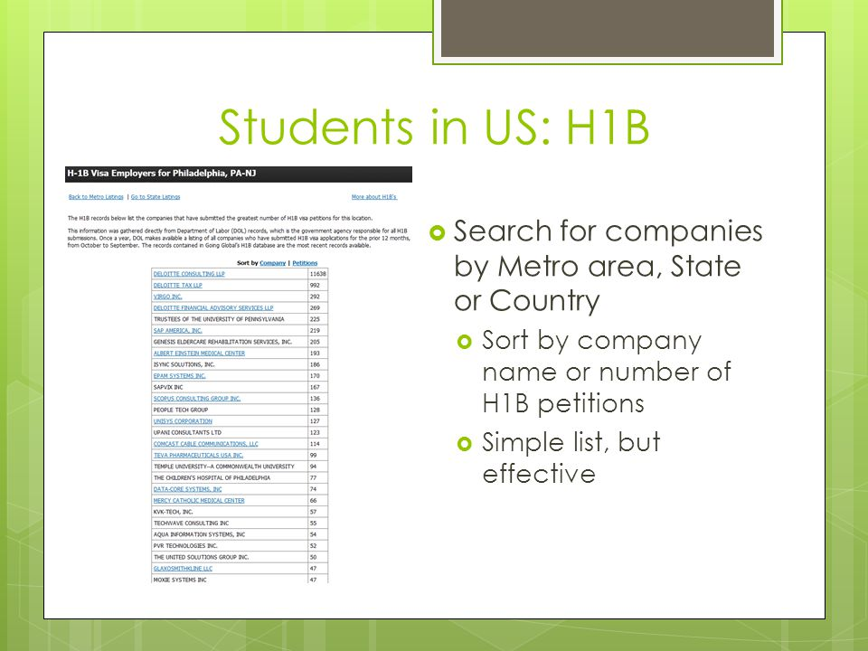 Students in US: H1B  Search for companies by Metro area, State or Country  Sort by company name or number of H1B petitions  Simple list, but effect