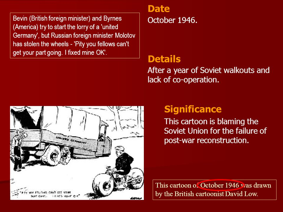 October 1946.After a year of Soviet walkouts and lack of co-operation.