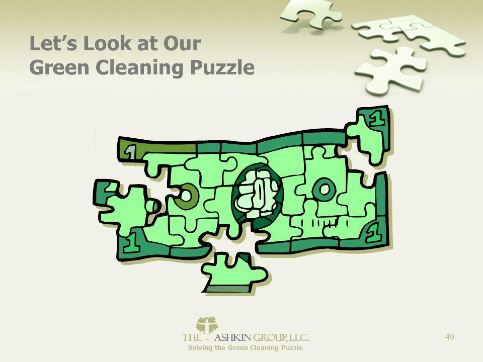 The Ashkin Group, llc. Solving the Green Cleaning Puzzle 49 Let's Look at Our Green Cleaning Puzzle