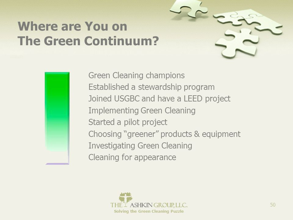 The Ashkin Group, llc. Solving the Green Cleaning Puzzle 50 Where are You on The Green Continuum.