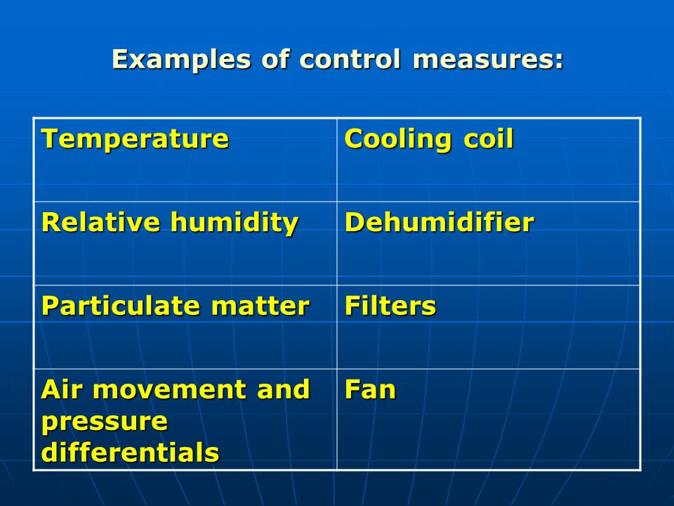 Examples of control measures: Temperature Cooling coil Relative humidity Dehumidifier Particulate matter Filters Air movement and pressure differentia