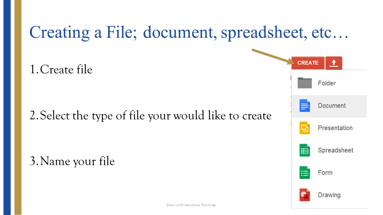 Creating a File; document, spreadsheet, etc… Birdville ISD Instructional Technology 1.Create file 2.Select the type of file your would like to create