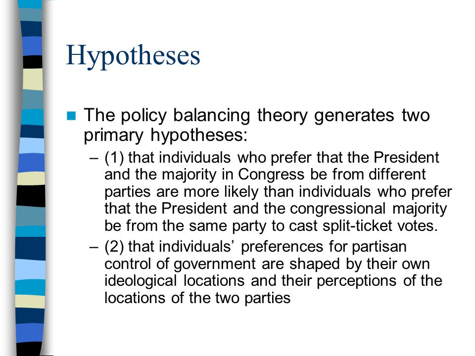Hypotheses The policy balancing theory generates two primary hypotheses: –(1) that individuals who prefer that the President and the majority in Congress be from different parties are more likely than individuals who prefer that the President and the congressional majority be from the same party to cast split-ticket votes.
