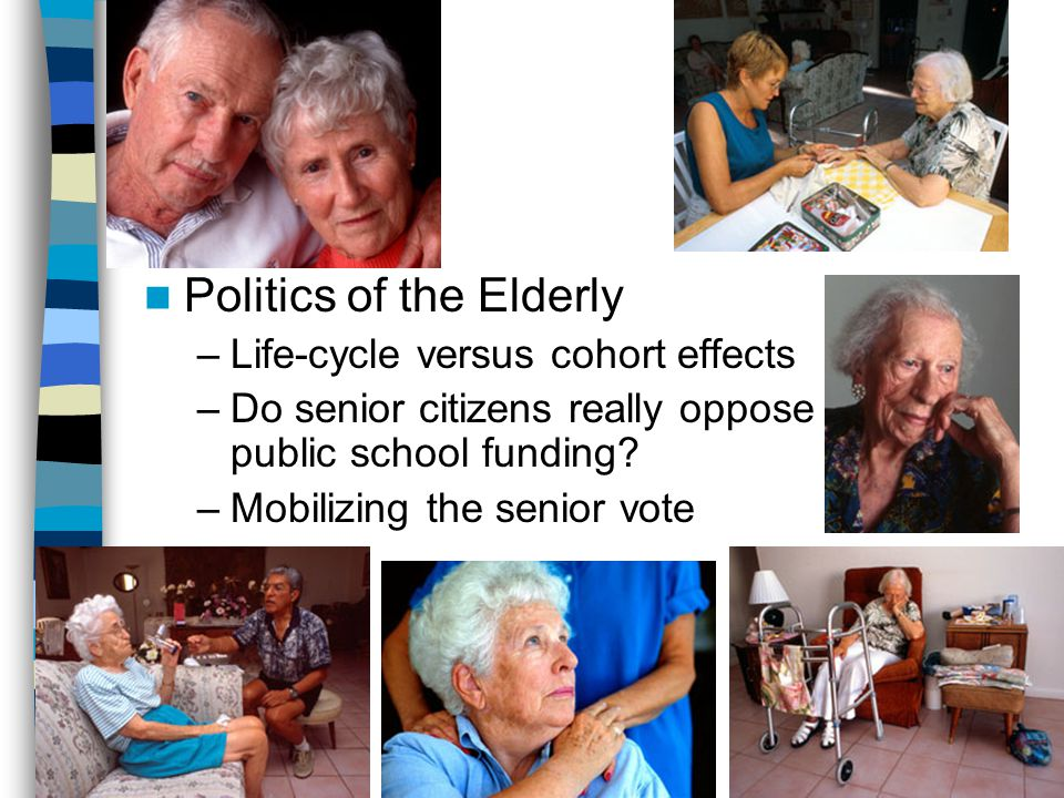 Politics of the Elderly –Life-cycle versus cohort effects –Do senior citizens really oppose public school funding.