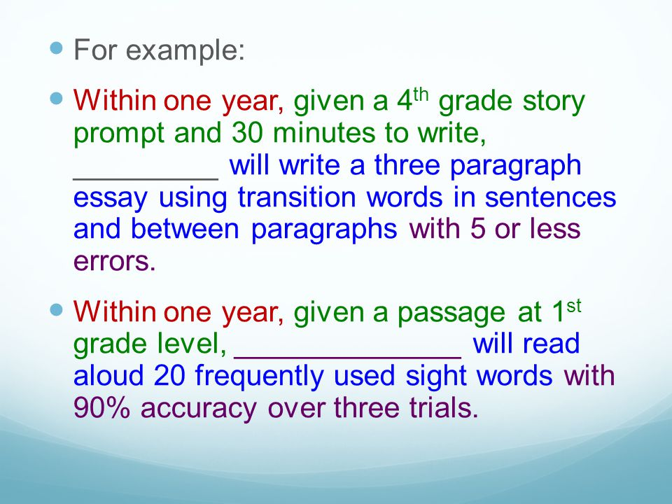 Within one year, given 20 fraction problems using addition and subtraction at a 4th grade level, ______________ will solve with 85% accuracy.