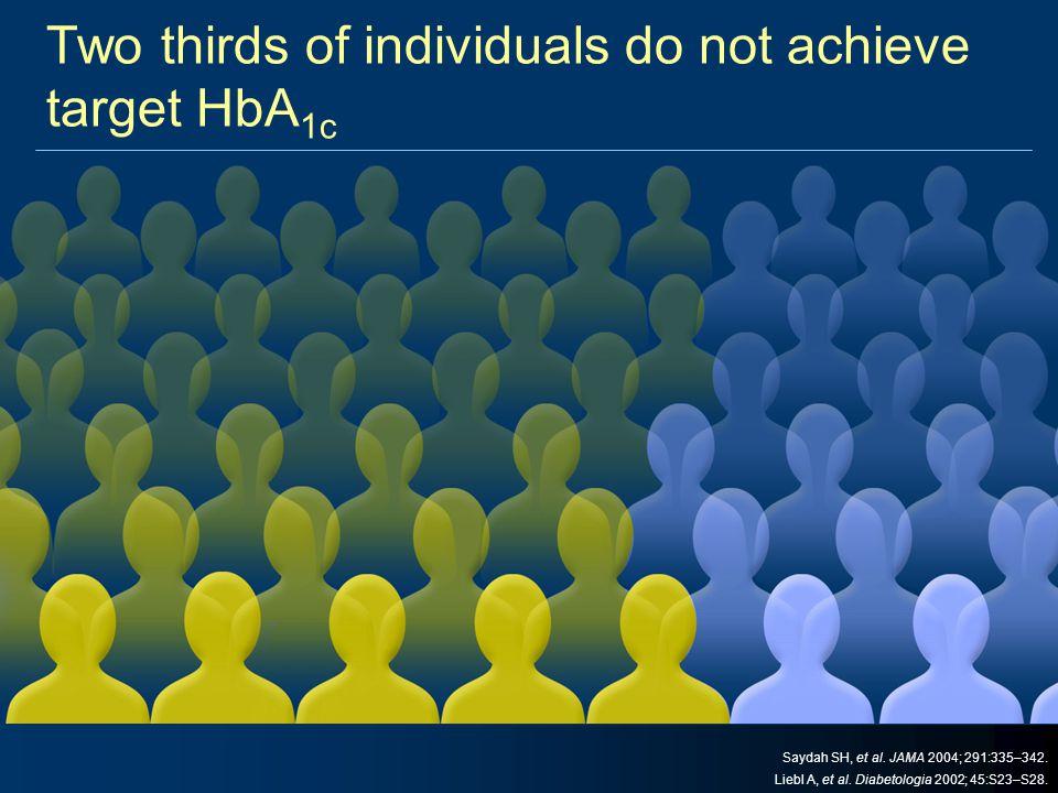 Two thirds of individuals do not achieve target HbA 1c Saydah SH, et al. JAMA 2004; 291:335–342. Liebl A, et al. Diabetologia 2002; 45:S23–S28.