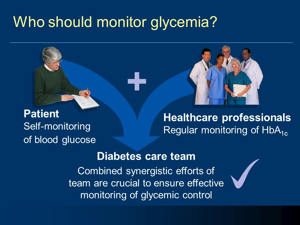 Who should monitor glycemia? Patient Self-monitoring of blood glucose Healthcare professionals Regular monitoring of HbA 1c + Diabetes care team Combi