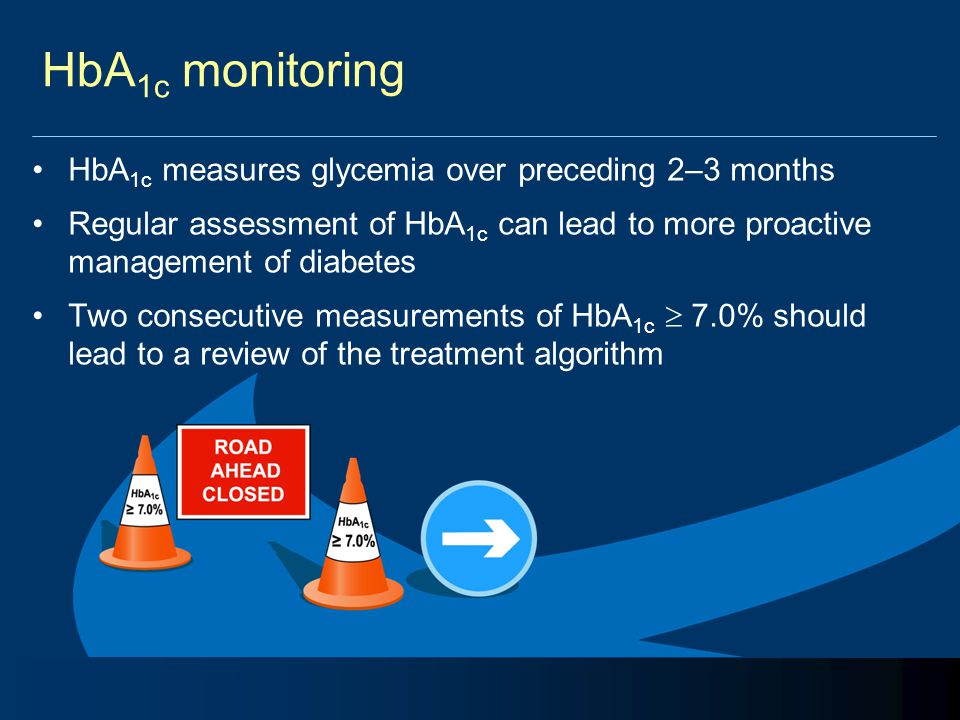 HbA 1c monitoring HbA 1c measures glycemia over preceding 2–3 months Regular assessment of HbA 1c can lead to more proactive management of diabetes Tw